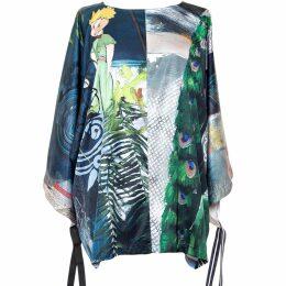 HATHAIRAT - Italian Linen Blossom Cacti Side Ruffle Shoulder Dress