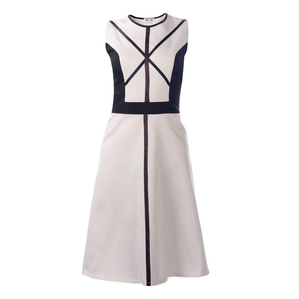 MUZA - White Graphic Cotton Dress