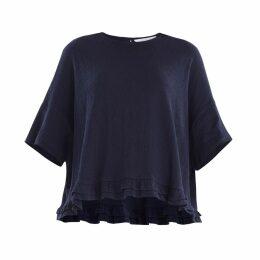 PAISIE - Oversized Jersey Top With Drop Hem Ruffle In Navy