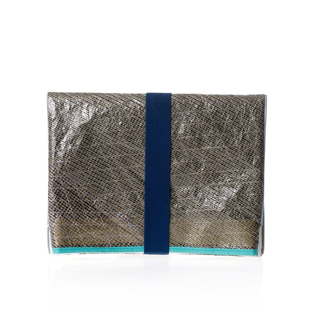 huner - Fold Over Clutch 0027 With Turquoise Stripe
