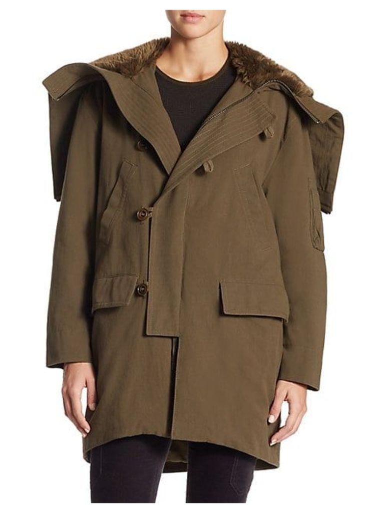 Hooded Faux Fur Hood Military Parka