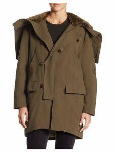 Hooded Faux Fur Hood Military Parka
