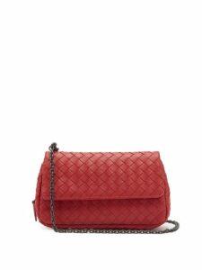 Bottega Veneta - Intrecciato Leather Mini Cross Body Bag - Womens - Red