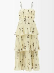 Carolina Herrera - Gathered Floral Fil Coupé Gown - Womens - Pink Multi