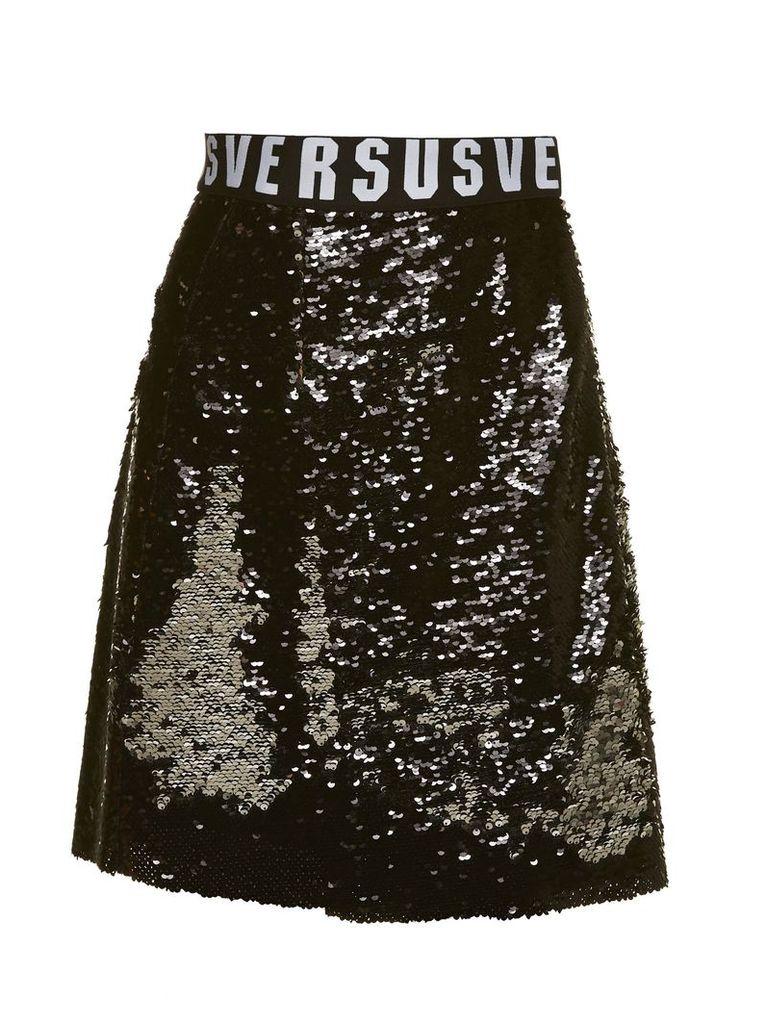 Versus Versace All Over Sequin Flared Skirt