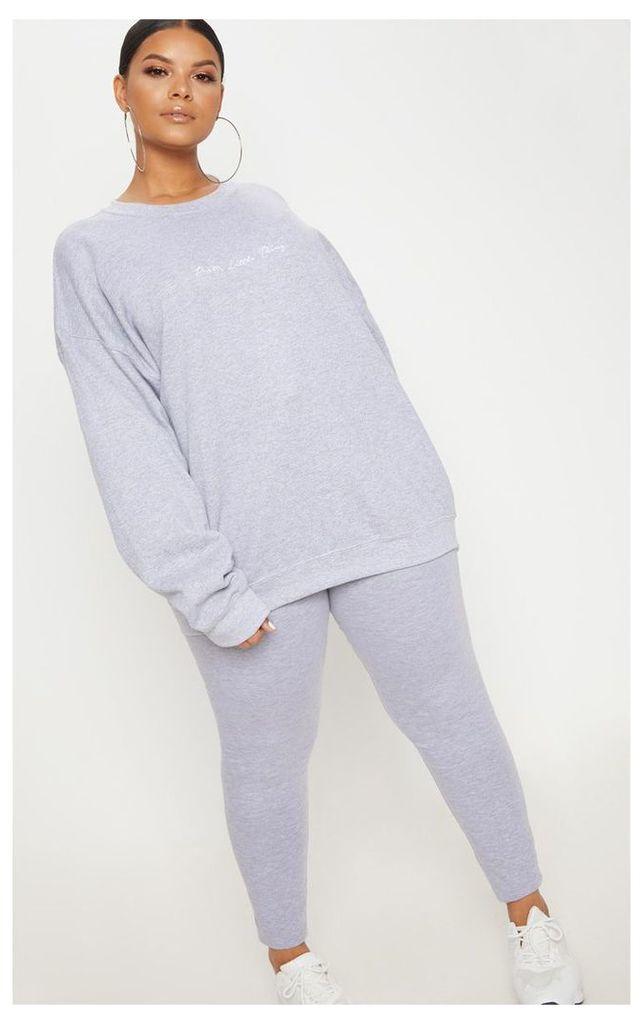 PRETTYLITTLETHING Plus Grey Marl Oversized Sweater, Grey