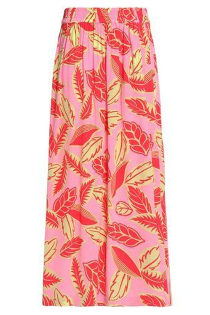 Boutique Moschino Woman Pleated Floral-print Crepe De Chine Maxi Skirt Pink Size 42