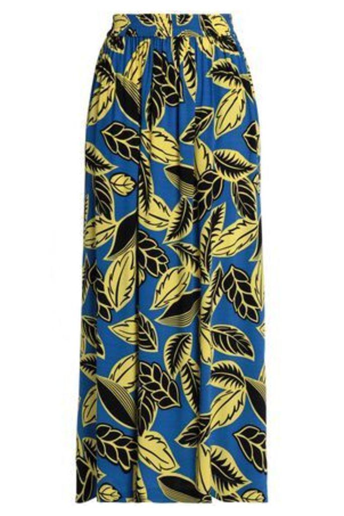 Boutique Moschino Woman Pleated Floral-print Crepe De Chine Maxi Skirt Cobalt Blue Size 40