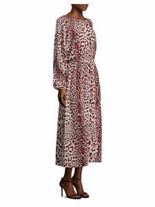 Leopard Print Silk Midi Dress