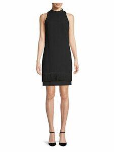 Fringe Shift Crepe Dress