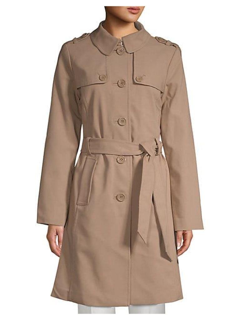 Patchwork Spread Collar Raincoat