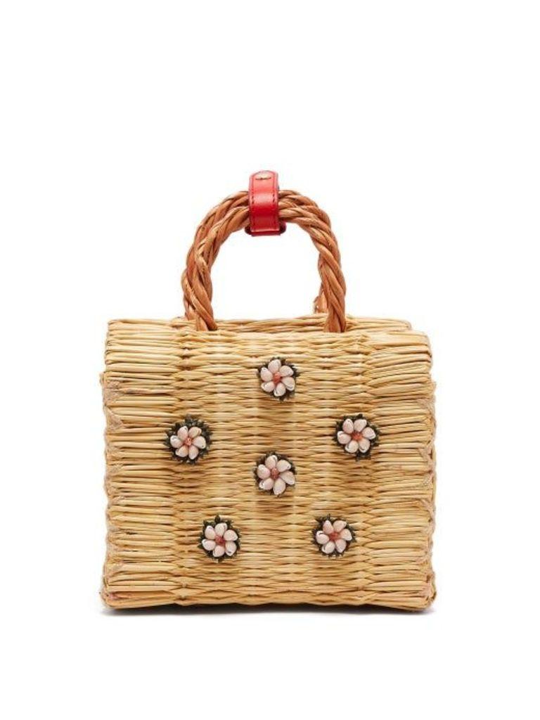 Heimat Atlantica - Shella Mini Reed Basket Bag - Womens - Cream Multi