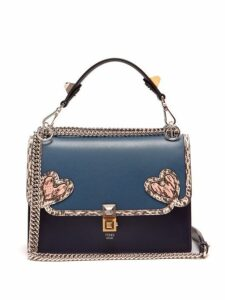 Fendi - Kan I Heart Detail Leather Shoulder Bag - Womens - Blue Multi