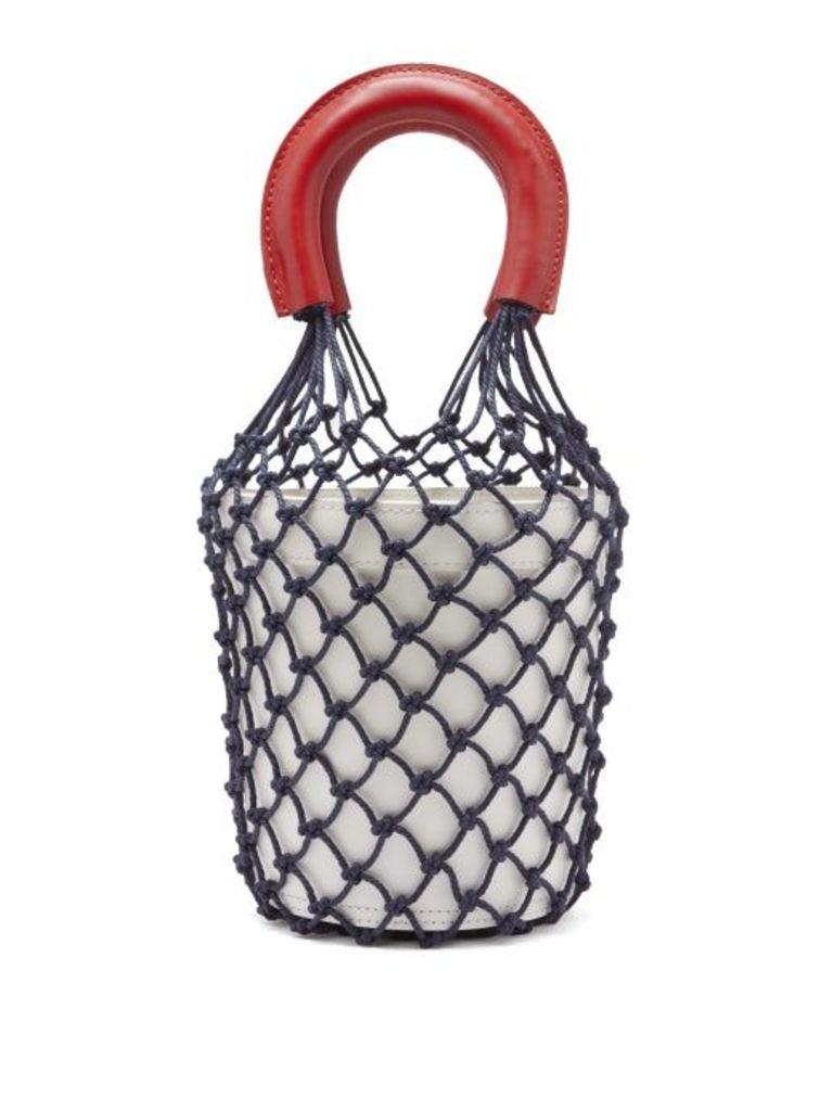 Staud - Moreau Macramé And Leather Bucket Bag - Womens - White Multi