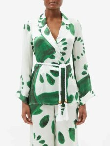 Richard Quinn - Floral Print Satin Coat - Womens - Brown Print