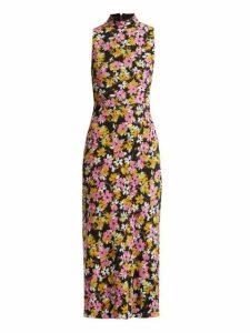 Saloni - Gemma Floral Print Silk Chiffon Dress - Womens - Black Multi