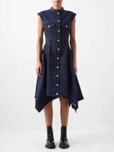Miu Miu - High Rise Leather Mini Skirt - Womens - Gold