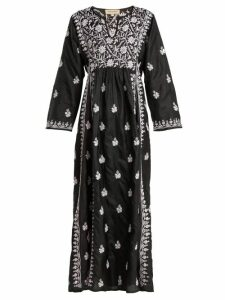 Muzungu Sisters - Floral Embroidered Silk Dress - Womens - Black Pink