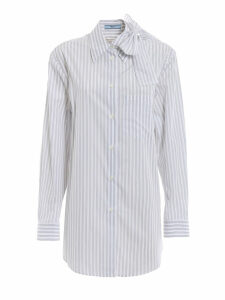 Prada Striped Bow Collar Shirt