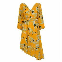 DIANE VON FURSTENBERG Asymmetric Floral Print Dress