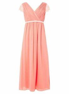 Womens **Showcase Petite Soft Coral 'Athena' Maxi Dress- Coral, Coral