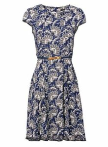 Womens *Izabel London Navy Damask Tea Dress- Navy, Navy