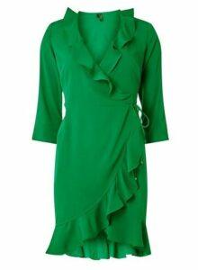 Womens **Vero Moda Green Multi Ruffle Wrap Dress- Multi Colour, Multi Colour