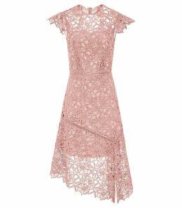 Reiss Ivana - Lace Asymmetric Hemline Dress in Pale Pink, Womens, Size 16