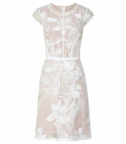 Reiss Ines - Floral Embroidered Overlay Dress in White/nude, Womens, Size 14