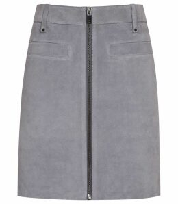 Reiss Enya - Centre Front Zip Detail Suede Skirt in Grey, Womens, Size 14