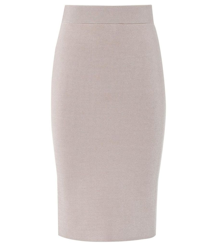 Reiss Tate - Knitted Pencil Skirt in Neutral, Womens, Size XXL