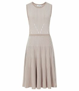 Reiss Becky - Striped Knitted Dress in Neutral, Womens, Size XL