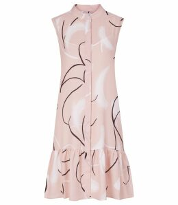 Reiss Anastasia - Printed Drop Waist Dress in Pink, Womens, Size 14