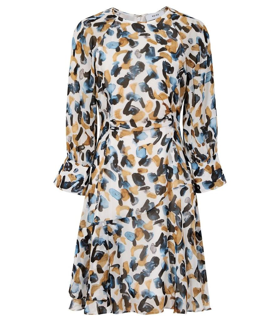 Reiss Molly - Printed Mini Dress in Blue, Womens, Size 14