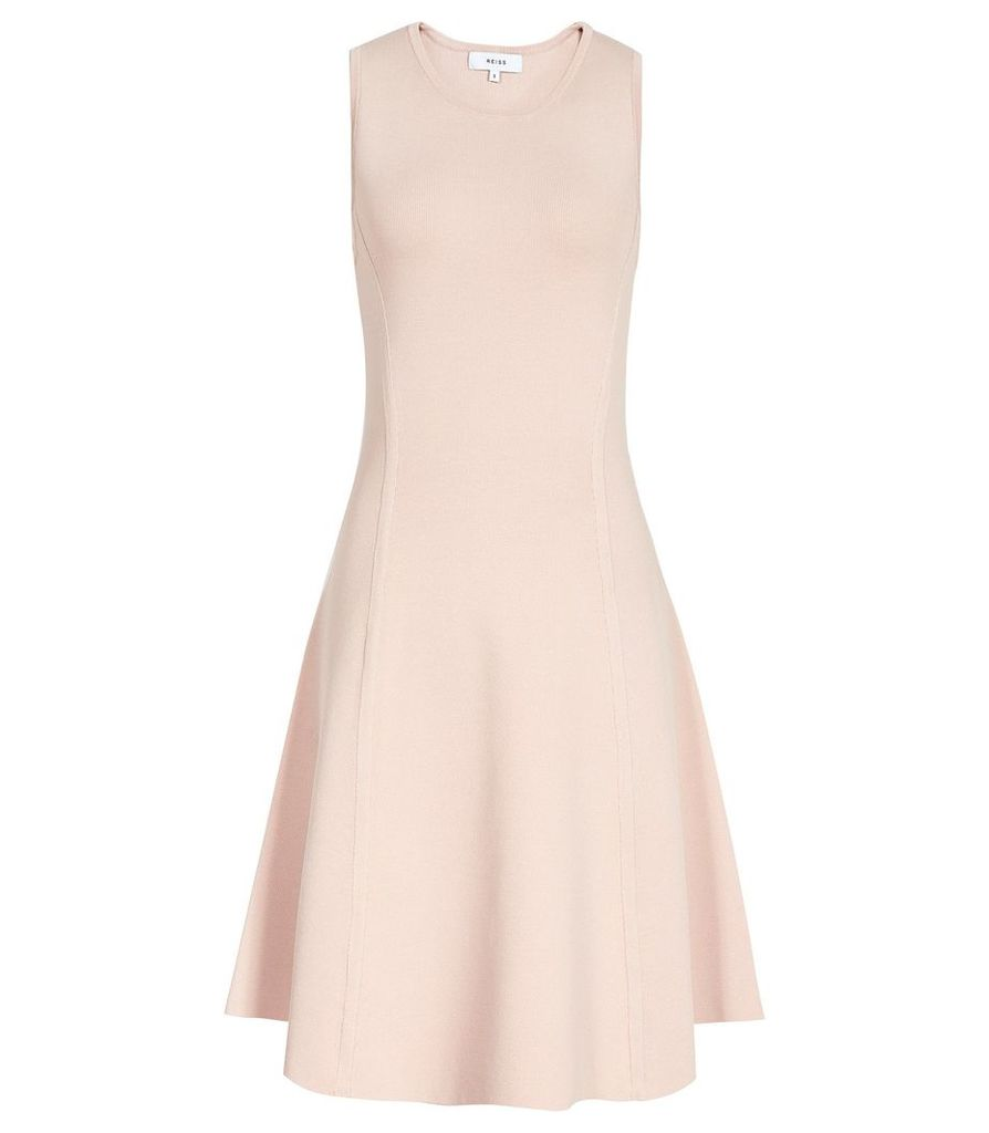 Reiss Millie - Knitted Fit And Flare Dress in Fresh Nude, Womens, Size L