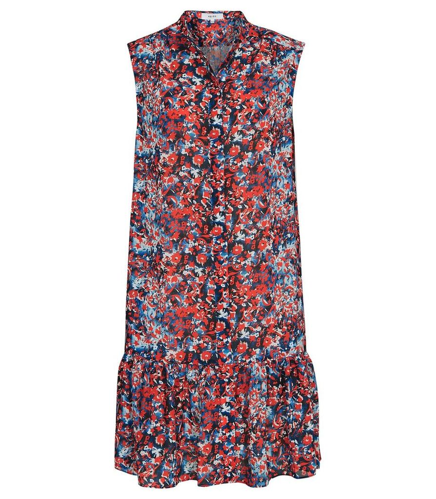 Reiss Vali - Ditsy Print Drop Hem Dress in Multi, Womens, Size 16