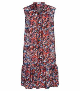 Reiss Vali - Ditsy Print Drop Hem Dress in Multi, Womens, Size 16