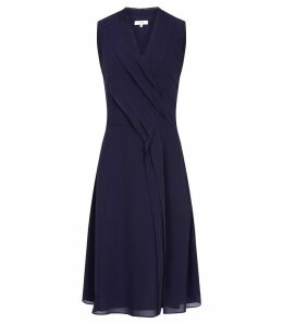 Reiss Alana - Pleat Front V Neck Dress in Navy, Womens, Size 16