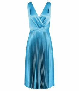 Reiss Alicia - Knife Pleat Midi Dress in Blue, Womens, Size 16