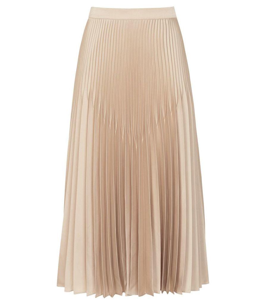 Reiss Isidora - Knife Pleat Skirt in Gold Metallic, Womens, Size 16