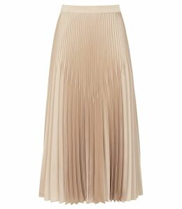 Reiss Isidora - Knife Pleat Skirt in Gold Metallic, Womens, Size 16