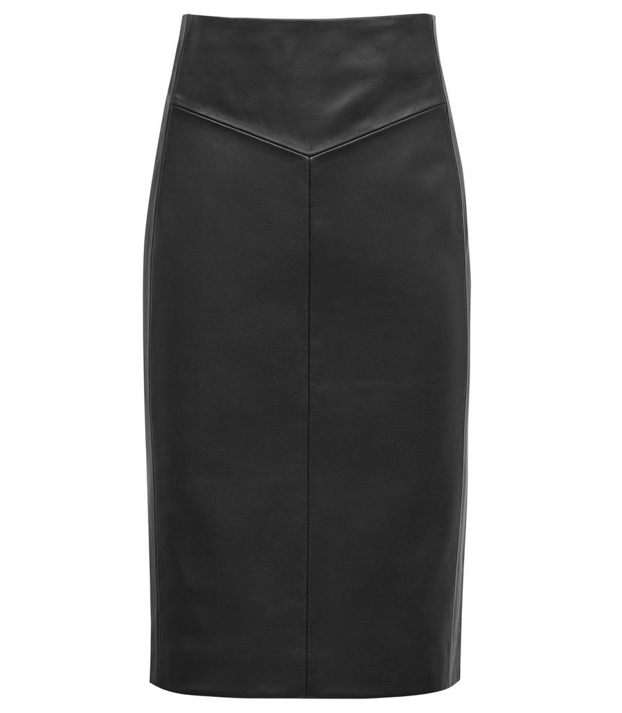 Reiss Megan - Leather Pencil Skirt in Black, Womens, Size 14