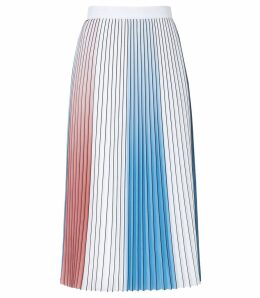 Reiss Nina - Pastel Pleated Midi Skirt in Multi, Womens, Size 14