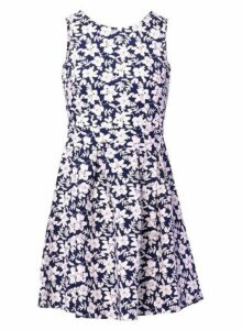 Womens *Izabel London Navy High Neck Skater Dress- Navy, Navy
