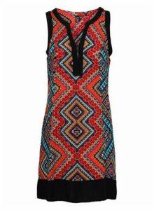 Womens *Izabel London Multi Coloured Tribal Print Shift Dress- Red, Red