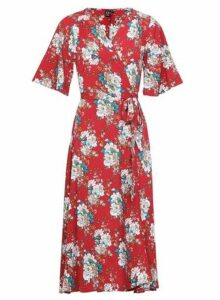 Womens *Izabel London Red Vintage Wrap Dress- Red, Red