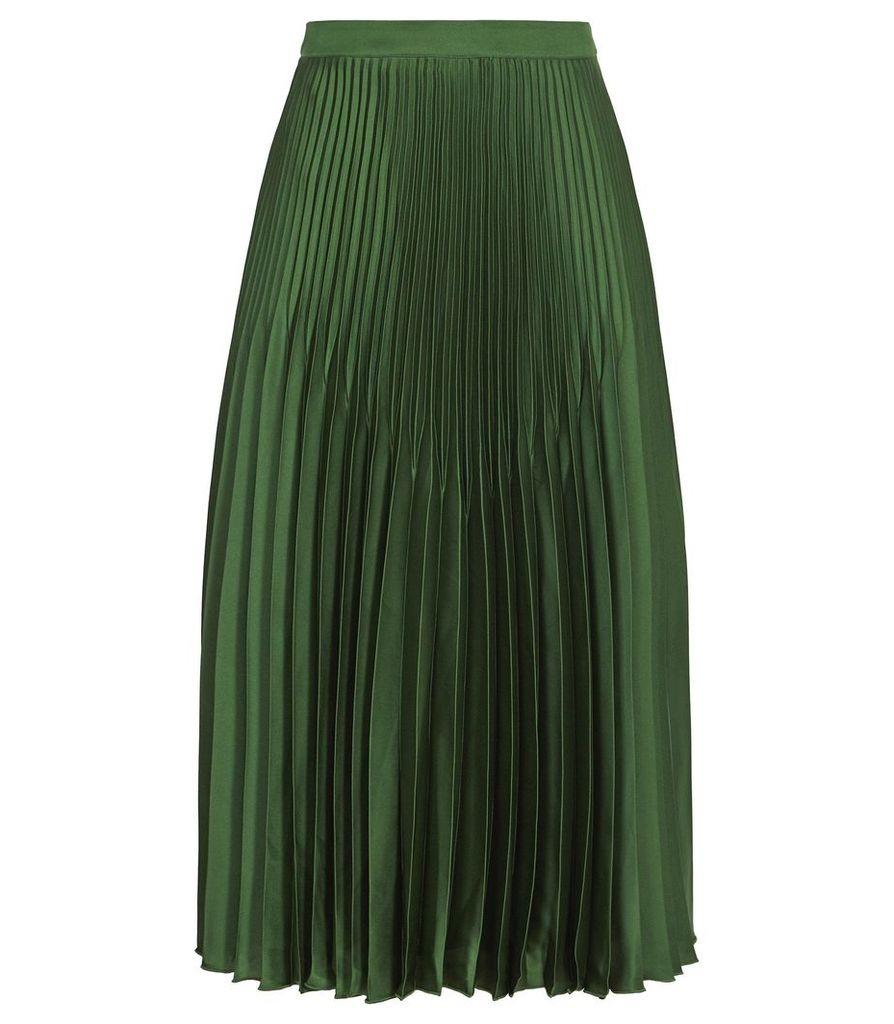 Reiss Isidora - Knife Pleat Skirt in Dark Green, Womens, Size 14