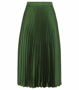 Reiss Isidora - Knife Pleat Skirt in Dark Green, Womens, Size 14