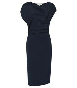 Reiss Lore - Capped Sleeve Dress in Midnight, Womens, Size 16
