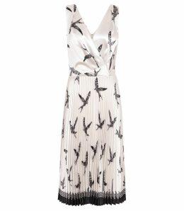 Reiss Peyton - Bird Printed Knife Pleat Midi Dress in Multi, Womens, Size 16